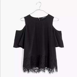 Madewell Lace-Edged Silk Cold-Shoulder Top black